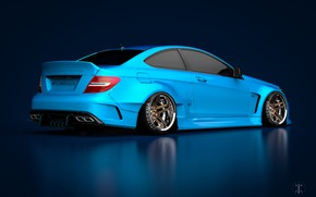 Picture Mercedes-Benz, Auto, Blue, Machine, Blue background, Mercedes, Car, C63, Widebody, Transport & Vehicles, November Tlibekov, ...