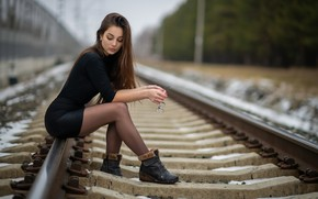 Picture railroad, mini skirt, beautiful girl, railway, charm, beautiful girl, charm, slender legs, slender legs, mini …