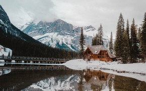 Picture house, forest, Canada, sky, trees, nature, bridge, winter, mountains, lake, snow, landscapes, fog, reflection, walkway, …