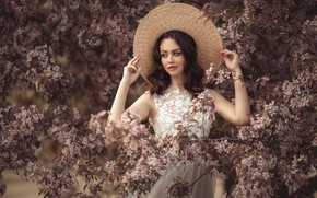 Picture girl, branches, pose, style, tree, mood, spring, hat, hands, flowering, Alina Mur, Dana Levchenko