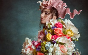 Picture girl, flowers, Photographer Elina Riga