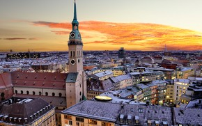 Picture the sky, sunset, the city, watch, building, tower, home, Germany, Munich, roof, architecture, the
