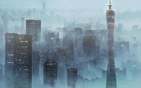 Picture snow, the city, fog