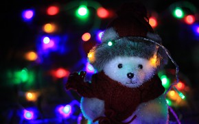 Picture winter, white, night, the dark background, holiday, hat, toys, lights, scarf, bear, Christmas, bear, New …