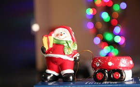Picture lights, smile, background, holiday, toy, new year, Christmas, positive, snowman, truck, garland, figure, bokeh, souvenir, …