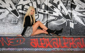 Picture look, pose, graffiti, model, skirt, portrait, makeup, figure, hairstyle, blonde, legs, boots, beauty, jacket, sitting, …