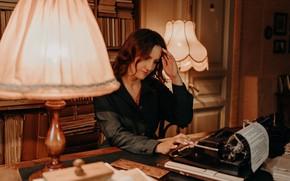 Picture girl, books, lamp, typewriter, floor lamp, typewriter, Альбина Пономарёва