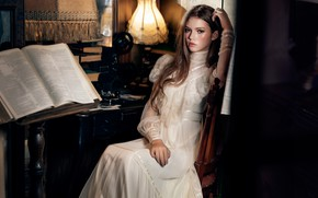Picture girl, pose, style, dress, book, long hair, vintage