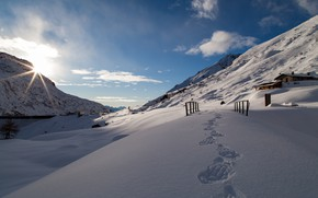 Picture snow, mountains, traces, Italy, Val Salarno