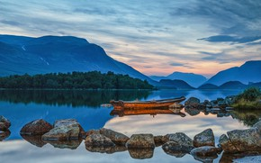 Picture lake, stones, boat, Norway, Norway, Valdres