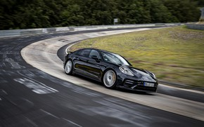 Picture black, Porsche, turn, Panamera, The Nürburgring, 2020, Nordschleife, предсерийный