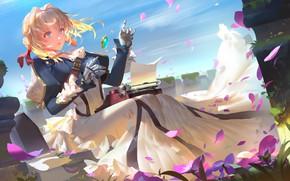 Picture girl, flowers, anime, art, cyborg, Violet Evergarden