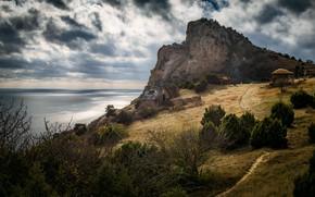 Picture sea, the sky, clouds, landscape, nature, shore, mountain, house, Crimea, shrubs, Balaclava, Motyl, tropinka