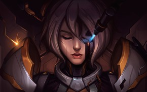 Picture girl, laser, cyborg, Irelia, League Of Legends, League Of Legends