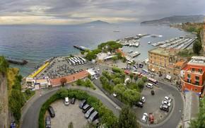 Picture sea, port, Italy, panorama, Sorrento