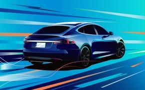 Picture art, art, Tesla, Model S