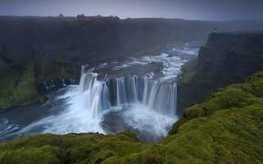 Picture fog, open, rocks, shore, people, waterfall, stream, Iceland