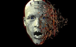 Picture look, face, surprise, black background, face, look, computer graphics, black background, surprise, computer graphics