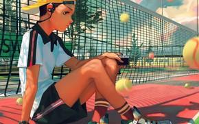 Picture mesh, sport, balls, guy, racket