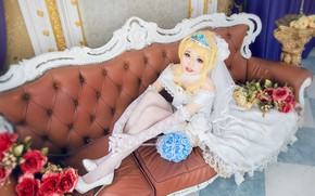 Picture look, girl, decoration, flowers, pose, style, room, sofa, sweetheart, white, feet, roses, interior, stockings, hands, …