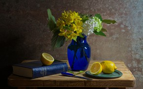 Picture flowers, lemon, book, vase