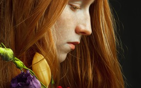 Picture girl, flowers, freckles, profile, redhead, Michael Shestakov