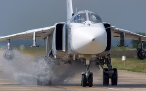 Picture Sukhoi, with variable sweep wing, Su-24M, Russian tactical bomber