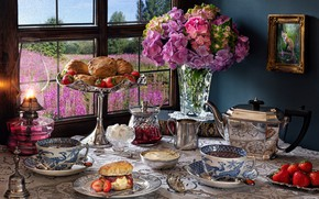 Picture flowers, berries, table, lamp, kettle, window, strawberry, the tea party, Cup, vase, cakes, dish, Phlox