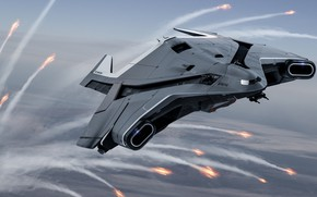Picture The plane, Art, Game, Transport, Spaceship, Star Citizen, Jet, Crusader, Science Fiction, Game Art, Cloud …