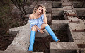 Picture look, girl, pose, boots, dress, brown hair, shoulders, curls, Alexey Yuriev