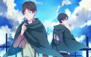 Picture The sky, anime, Flower, art, Shingeki no Kyojin, Eren, Attack of the titans, The invasion …