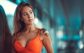 Wallpaper sexy, model, portrait, makeup, dress, tattoo, hairstyle, brown hair, bokeh, Claudia, Marco Squassina