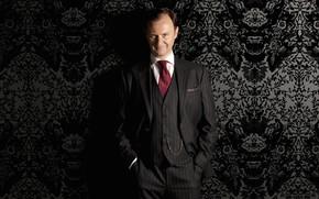 Picture smile, Sherlock, Mark Gatiss, Mycroft Holmes, Sherlock BBC, Sherlock Holmes, Sherlock (TV series), black Wallpaper
