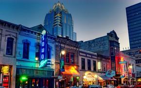 Picture lights, street, home, the evening, USA, Austin, Texas, Six Street