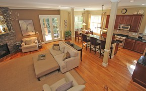 Picture interior, kitchen, fireplace, living room, dining room, dining and kitchen areas with timber flooring, Open …