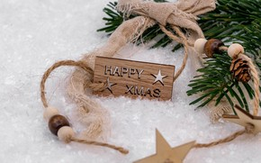 Picture winter, holiday, the inscription, plate, Christmas, New year, beads, bow, needles, Christmas decorations, Christmas decorations, …