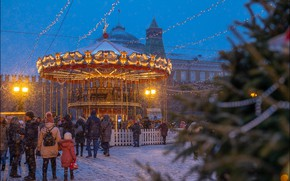 Picture winter, snow, the city, the evening, Moscow, carousel, tree, illumination, Red Square, Yuri Degtyarev