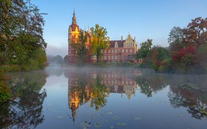 Picture Park, reflection, river, castle, morning, Germany, Germany, Saxony, Saxony, Muskau Park, The Castle Of Muskau, …