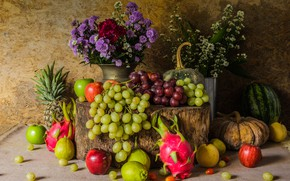 Picture flowers, apples, bouquet, grapes, fruit, still life, pear, flowers, autumn, fruit, grapes, still life