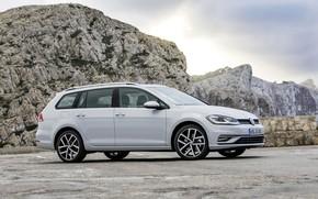 Picture mountains, rocks, Volkswagen, universal, 2017, Golf Variant, white-gray