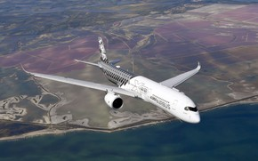 Picture The plane, Liner, Shore, Airbus, Airbus A350-900, A passenger plane, Airbus A350 XWB