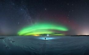 Picture the sky, stars, people, The milky way, aurora, sky, stars, man, Milky Way, polar lights