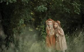 Picture summer, grass, trees, nature, children, childhood, girls, dandelions, Svetlana Shelemeteva