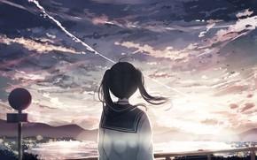 Picture sunset, anime, art, girl