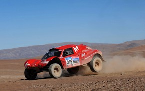 Picture the sky, red, desert, plain, rally, rally, Buggy, Fast&Speed