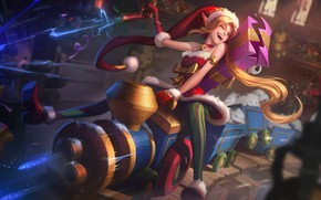 Picture mood, holiday, elf, the game, new year, fantasy, art, gifts, Riot Games, Ambitious Elf Jinx, …