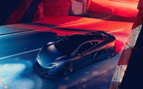 Picture McLaren, Night, Machine, Grey, Render, Supercar, Lighting, Rendering, Sports car, 675LT, McLaren 675LT, Grey, Transport …