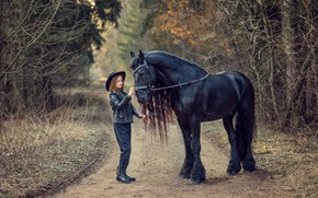 Picture road, nature, animal, horse, girl, walk, child, Victoria Dubrovskaya