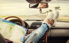 Picture Car, Woman, Map, Mood