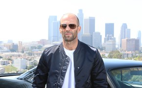 Picture machine, look, pose, glasses, actor, Jason Statham, street background, Jason Statham